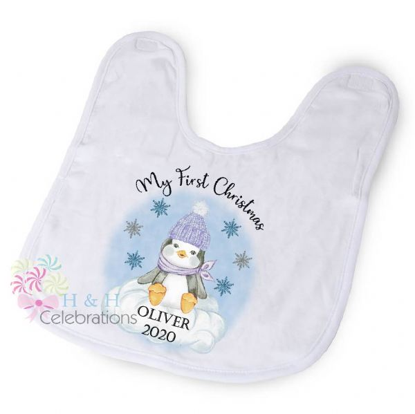 My First Christmas Blue Penguin Baby Bib